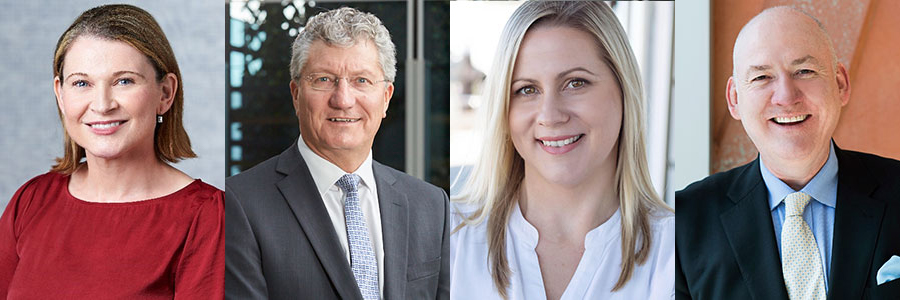 Four headshots in a row of Sinead Taylor, Commissioner David Eaton, Rachael Ferguson and Prof Alan Duncan