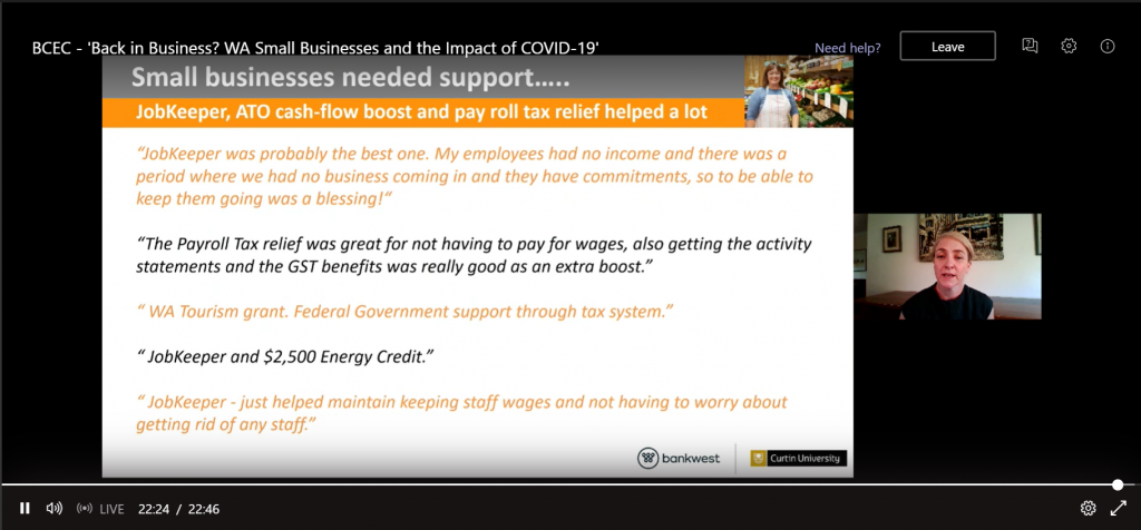 Screenshot of Rebecca Cassells presenting the 'Back in Business' report online