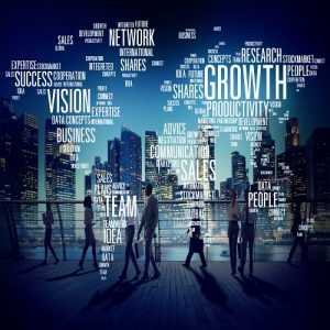 Image of a business people and words depicting productivity and innovation